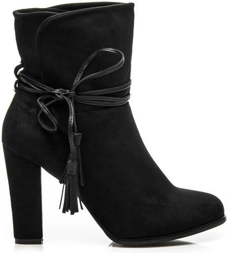 VICES Módne čierne členkové topánky s viazaním na bočnej strane ... 933733ae5d5