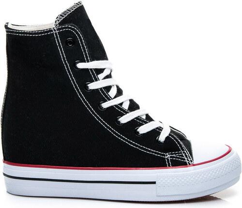 42fbef6988b VICES Čierne tenisky na klínku ala Converse odtiene farieb  čierna ...