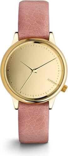 28230a0cf61 Dámské hodinky ve zlaté barvě s růžovým koženým páskem Komono Estelle Mirror
