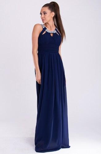 Dámské společenské a plesové šaty dlouhé značkové EVA   LOLA šaty tmavě  modré 0bb48540353