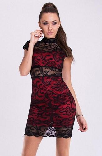 Dámské krajkové šaty EMAMODA černo-červené - Glami.cz 399d166f9f