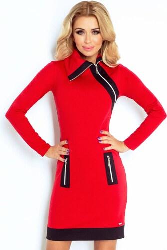 38253f4ee9d numoco Dámské šaty značkové ZIPPY moderní se třemi zipy červené ...