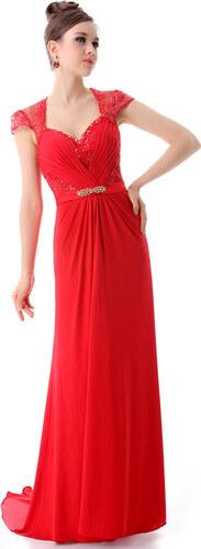 Ever Pretty Krásné červené šifonové večerní šaty s krajkou - Glami.cz ad4fbbed28