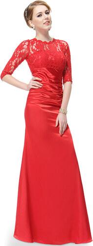 fd5c8b32c8e Ever-Pretty Elegantní červené večerní šaty s tříčtvrtečními rukávy ...