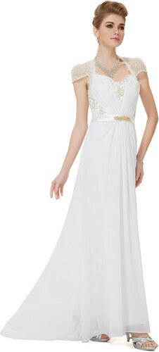 81adb713d02 Ever Pretty Krásné bílé šifonové večerní šaty s krajkou - Glami.cz