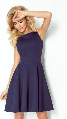 3970f571f20 numoco Tmavě modré šaty kolového střihu s lodičkovým výstřihem 98-1 ...