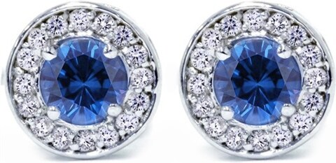 72c6ce1ff Eppi Diamantové halo náušnice s modrými zafírmi Ember - Glami.sk