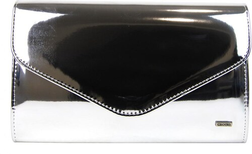 Zrkadlovo lesklá strieborná spoločenská listová kabelka SP102 GROSSO ... 78f0732558c