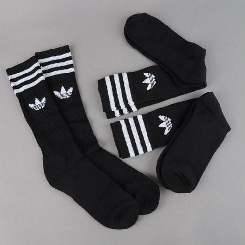 aa42bcd3544 adidas 3Pack Solid Crew Sock černé   bílé - Glami.cz