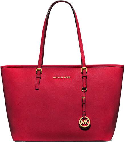 Červená kožená kabelka Michael Kors jet set travel chilli top zip ... 25f9caa3eee