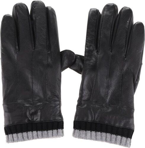 Čierne pánske kožené rukavice s úpletom Portland - Glami.sk db9ea1f6ef