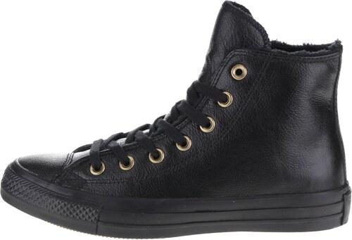Černé dámské kožené kotníkové tenisky Converse Chuck Taylor All Star ... 2e8a711173
