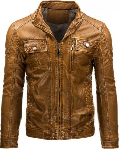bffc719c4e HTRANG Pánska kožená bunda na zips hnedá - Glami.sk