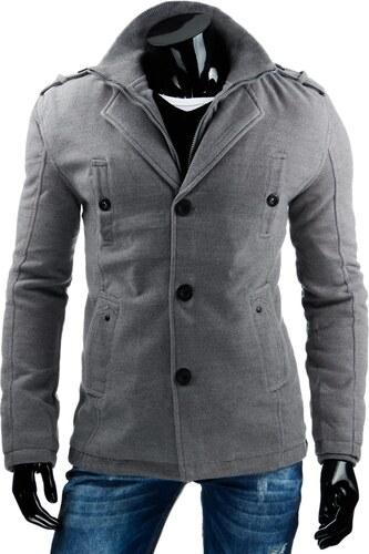 Sivý zateplený pánsky kabát na zimu - Glami.sk 6352f14b3b4