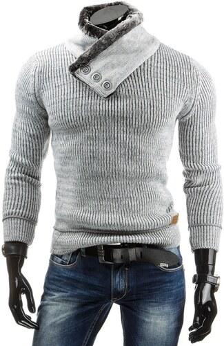 5d3b84edb899 Pánsky štýlový sveter šedej farby - Glami.sk
