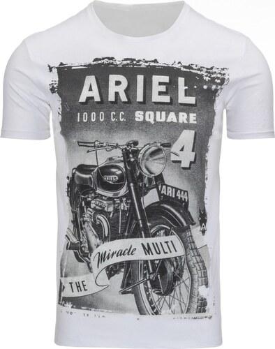 Biele pánske tričko s potlačou motorky - Glami.sk 829e08475d5