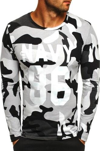 858d8b97b088 Čierno-biele tričko v maskáčovom prevedení s potlačou ATHLETIC 1087 ...