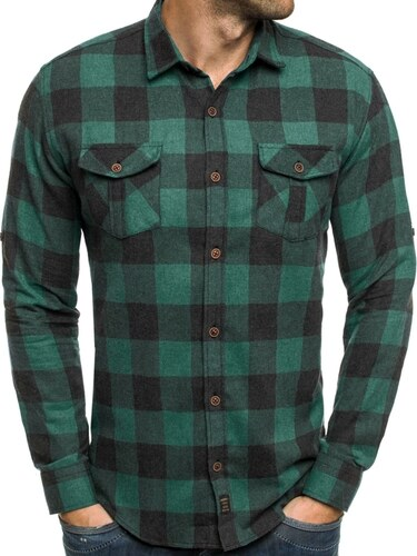 Madmext Moderní pánská kostkovaná zelená košile MADMEXT 1770 - Glami.cz 52b41dc309