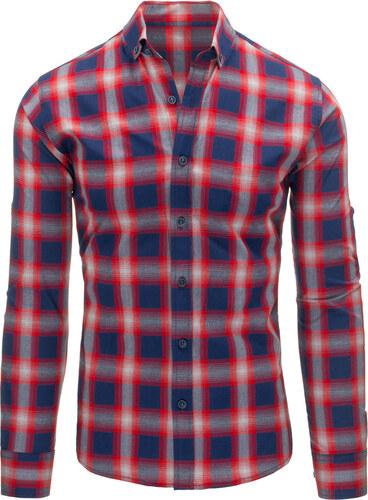 d00d9ba830da Pánska károvaná modro-červená košeľa (dx1170) odtiene farieb  modrá ...