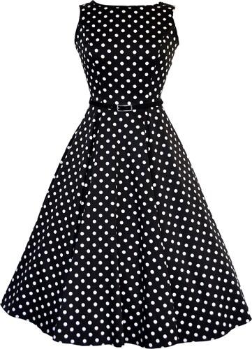 Lady Vintage RETRO DÁMSKÉ ŠATY Hepburn Black   White Polka Dot ... 0de52f5ada