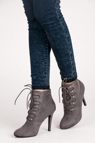 135e921aa0 VICES Dokonalé šnurovacie šedé členkové topánky na ihličkovom podpätku