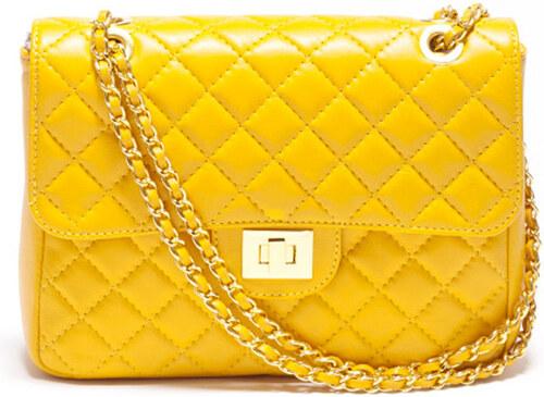 Dámské kanárkově žluté prošívané psaníčko s řetízkem Carla Ferreri ... 0770376b52f