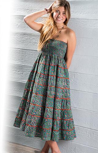 NINA FLORAL letní květinová maxi sukně s volány zelená Namaste ... da75d41cf7
