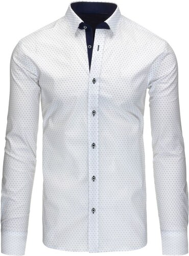 Manažerská bílá košile s modrým vzorem - Glami.cz e50d72cb0f