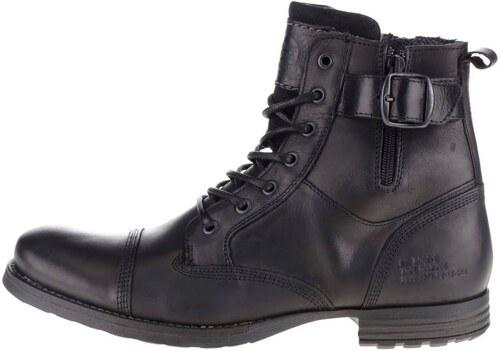 fa580b43b510 Čierne pánske kožené topánky s prackou Bullboxer - Glami.sk