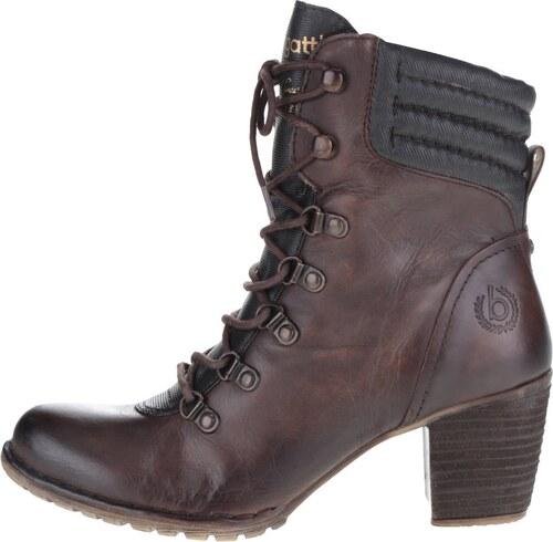 Hnedé dámske šnurovacie členkové topánky na podpätku bugatti Cathy ... a37a0abf2a3