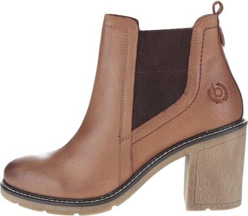 b7bda26b498b Hnedé dámske kožené členkové topánky na podpätku bugatti Adina ...