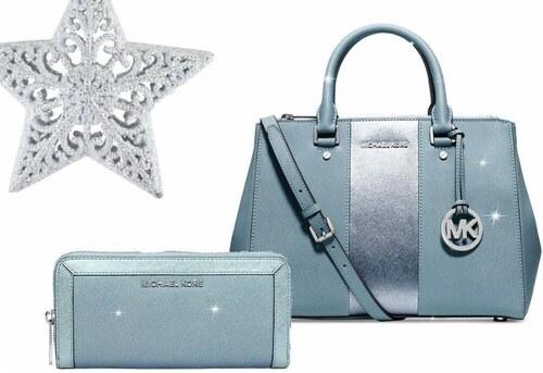 d769bf914d Vánoční set Michael Kors saffiano powder blue silver - Kabelka MK Sutton a  peněženka MK