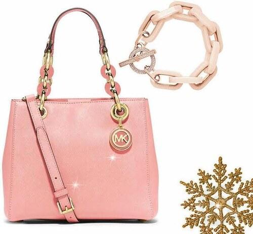 Růžový vánoční set Michael Kors - Kožená kabelka MK Cynthia small pale pink  a náramek MK 909af11cc24