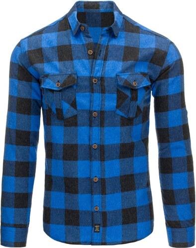 Moderní flanelová černo-modrá pánská košile - Glami.cz 2f6ba32f9e
