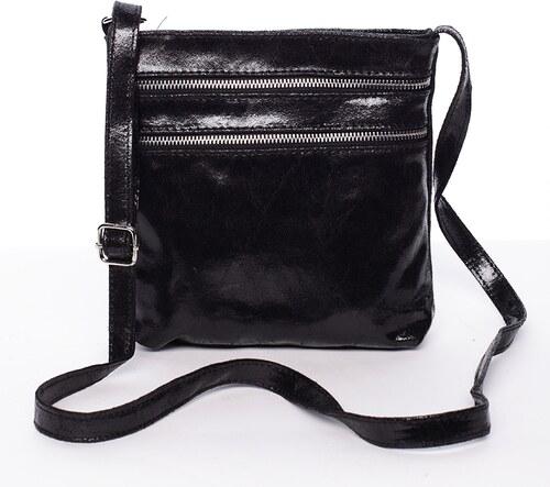9eec3b9894 Dámska kožená crossbody kabelka čierna - ItalY TRINET čierna - Glami.sk