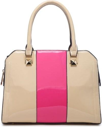 Moda Handbag Béžová kabelka do ruky s růžovým pruhem A34176 - Glami.cz bd58d41576f