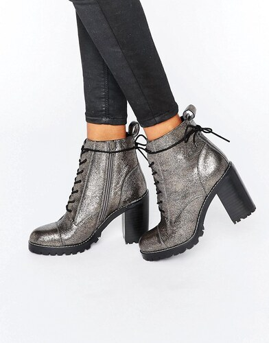 gallery of office ammo bottines talons lacets paisses en cuir tain argent  with bottine a talon lacet