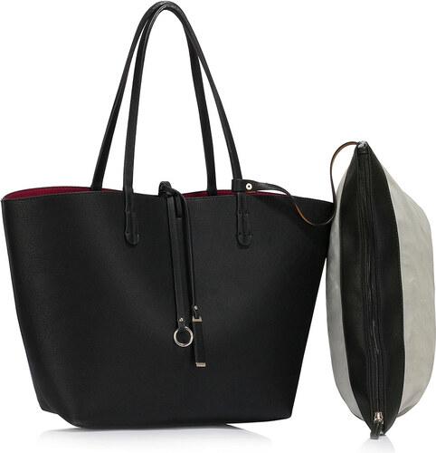 LS fashion Dámská velká oboustranná kabelka LS00393 černá-fialová ... 0e90793bfb9