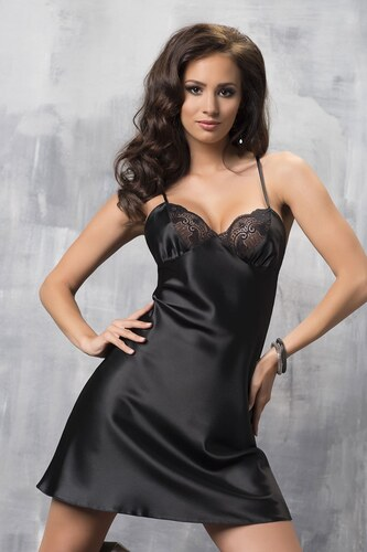Irall Sharon luxus szatén hálóing fekete - Glami.hu d95fcef7d4