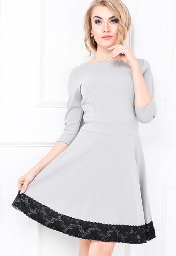 Dámske šedé šaty s čipkou - 84460 odtiene farieb  šedá - Glami.sk d67ae288bd8