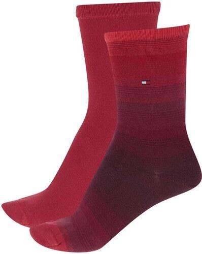 Súprava dvoch párov dámskych ponožiek v červenej farbe Tommy Hilfiger 1eef8bc15da