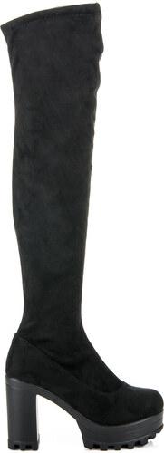 VIA GIULIA Semišové čižmy na platforme - 35-616B odtiene farieb  čierna d4f70e1d9f1