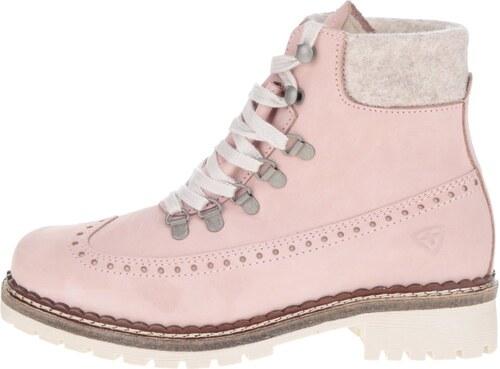 Světle růžové kožené kotníkové boty s umělým kožíškem Tamaris - Glami.cz 4de35ee595