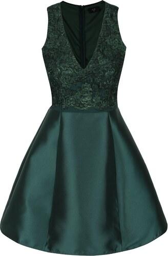 39350f685b2a Tmavozelené šaty s čipkou AX Paris - Glami.sk