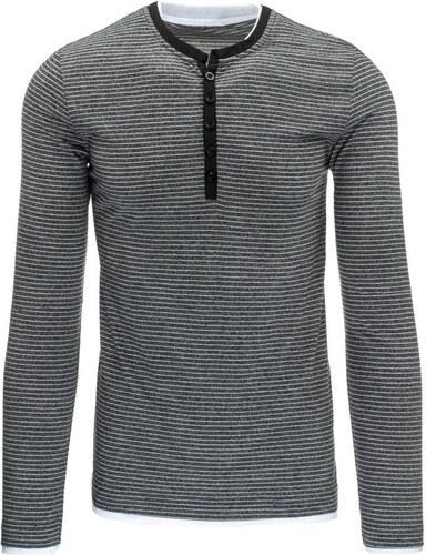a5d439d5da6 Čierne tričko s gombíkmi a bielymi prúžkami - Glami.sk