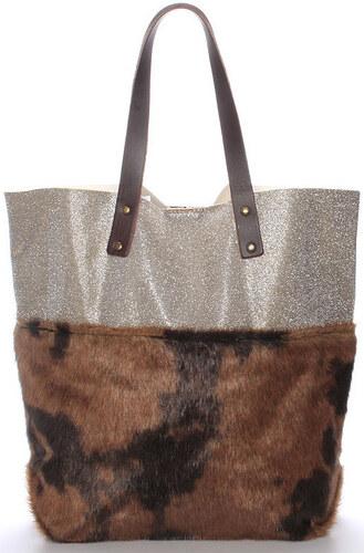 d2d10b439783 Italy Kabelky přes rameno Dámská kabelka shopper s kožešinou hnědá - Rachel  Italy