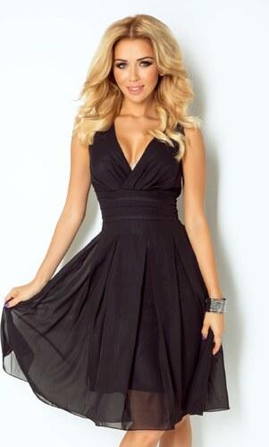 195fa9a2e9c numoco Luxusní dámské společenské a plesové šifonové šaty KARA černé ...