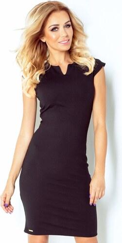 numoco Společenské dámské šaty NOTCH s krátkým rukávkem krátké černé ... 95e6924296