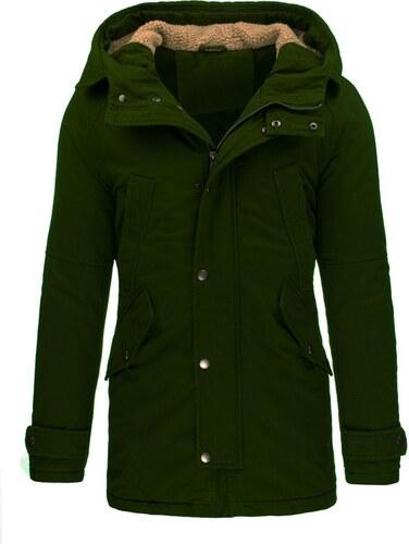 66c15bb83b Pánská zimní bunda stylu parka v tmavě zelené khaki - Glami.cz
