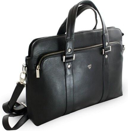 Arwel Černá kožená business taška na notebook Catalina - Glami.cz 820ce6d7ce
